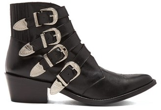 Toga Buckle Leather Ankle Boots - Womens - Black