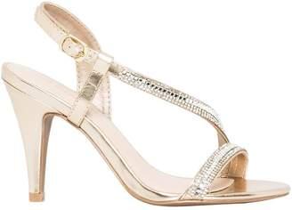 Le Château Women's Metallic Faux Leather Asymmetrical Sandal
