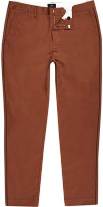 River Island Mens Coral pipe skinny fit chino trousers