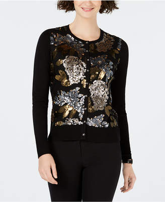 Charter Club Floral Sequin Cardigan Sweater