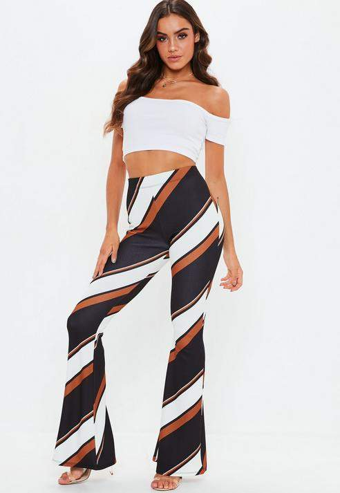 Tall Rust Stripe Flare Trousers, Rust