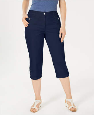 Karen Scott Petites Button-Hem Capri Pants