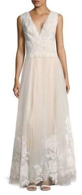 Tadashi Shoji Laced V-Neck Floor-Length Gown