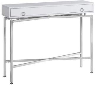 "Monarch Specialties Monarch Accent Table 42""L / Glossy White / Chrome Hall Console"