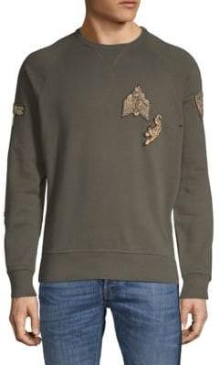 Roberto Cavalli Metallic Patch Cotton Sweatshirt