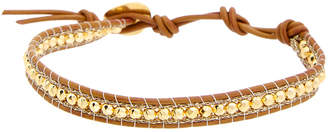 Chan Luu 18K Over Silver Hematine Leather Bracelet