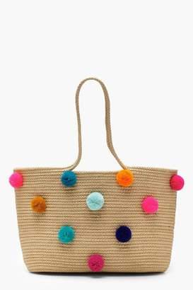 boohoo Multi Colour Pom Beach bag