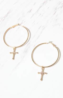 La Hearts Cross Hoop Earrings