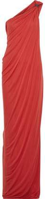 Halston One-Shoulder Draped Jersey Gown