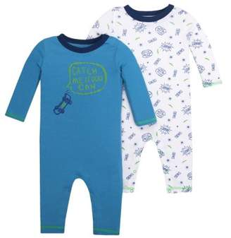 Little Star Organic Newborn Baby Boy Long Sleeve One Piece Romper, 2-pack