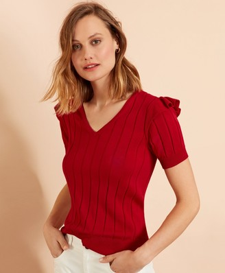 Brooks Brothers Cotton Ruffle-Trim Short-Sleeve Sweater