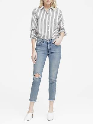 Banana Republic High-Rise Straight-Fit Fray Hem Ankle Jean