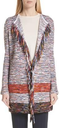St. John Vertical Fringe Multi Tweed Knit Waterfall Cardigan