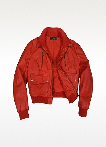 Forzieri Women's Red Leather Bomber Jacket