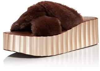 Tory Burch Faux-Fur Scalloped Platform Sandals