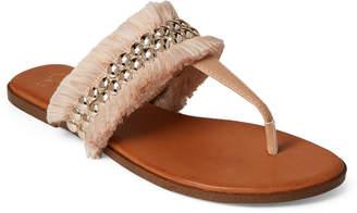 Jessica Simpson Natural Crespo Studded Fringe Thong Sandals