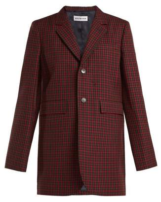 Balenciaga Single Breasted Checked Wool Jacket - Womens - Burgundy Multi