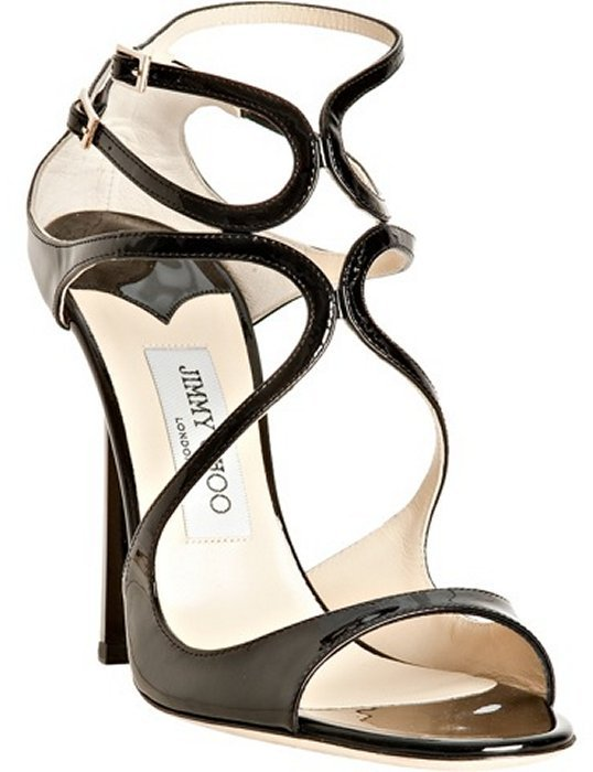 Jimmy Choo black patent leather 'Lance' sandals