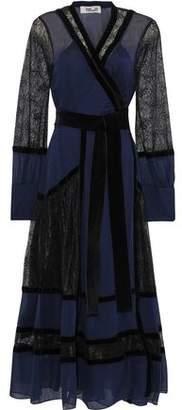 Diane von Furstenberg Forrest Lace-paneled Silk-chiffon Midi Wrap Dress