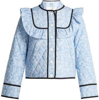 Ganni Sage floral-print quilted jacket