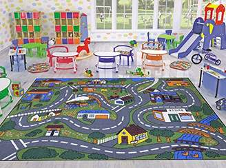 Ottomanson Jenny Collection Grey Base with Multi Colors Kids Children's Educational Road Traffic System Design(Non-Slip) Area Rug