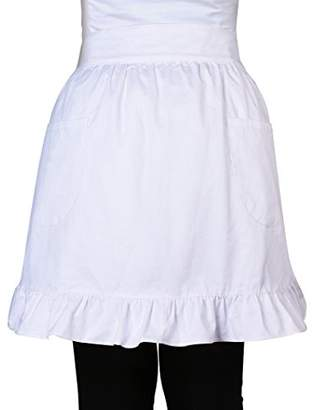 100% Cotton 2 Pockets Waist Apron Kitchen Cooking Restaurant Bistro Half Aprons for Girl Woman