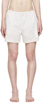 Thom Browne Tricolor Striped Swim Shorts $285 thestylecure.com