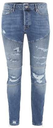 Topman Mens Blue Light Wash Skinny Zip Biker Jeans