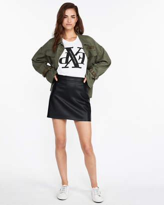 Express Clean A-Line (Minus The) Leather Mini Skirt