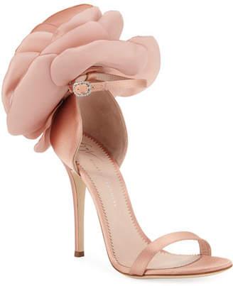 ab595b76a24c8 Giuseppe Zanotti Satin Flower High Sandals