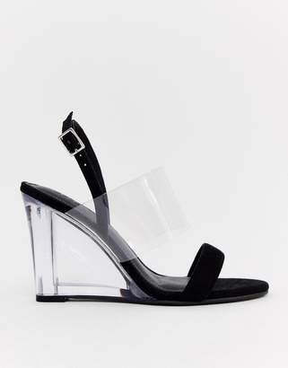 199d89bb5191 clear Asos Design ASOS DESIGN Hastings heeled wedges in black