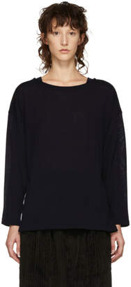 Chimala Navy Big Boatneck Wool T-Shirt