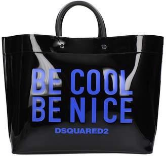 DSQUARED2 Be Cool Print Black Pvc Tote Bag