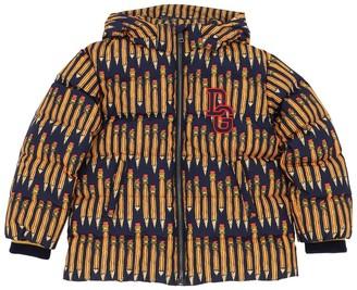 Dolce & Gabbana Pencil Print Nylon Down Jacket