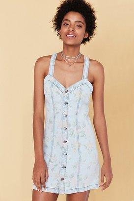 Kimchi Blue Dolores Floral Print Denim Mini Dress $69 thestylecure.com