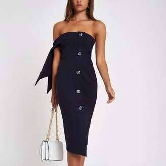 River Island Womens Navy tie sleeve bandeau midi dress