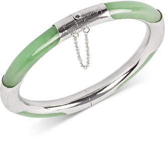 Macy's Dyed Green Jade (7mm) Bangle Bracelet in Sterling Silver