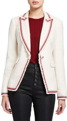 Veronica Beard Cutaway Contrast-Trim Jacket
