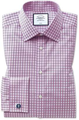 Charles Tyrwhitt Classic Fit Non-Iron Twill Berry Gingham Cotton Dress Shirt French Cuff Size 15.5/32