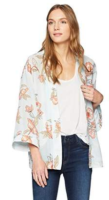 J.o.a. Women's Floral Long Sleeve Kimono Cardigan
