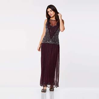 84d7e7128c0 Gatsbylady London Elaina Art Deco Drop Waist Maxi Dress