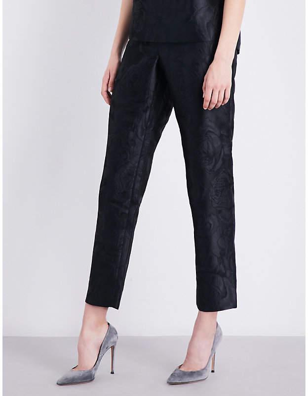St. John Avani Rose straight jacquard trousers