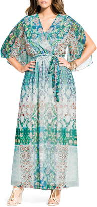 City Chic Bella Vacanza Collection Istanbul Woven Faux Wrap Maxi Dress