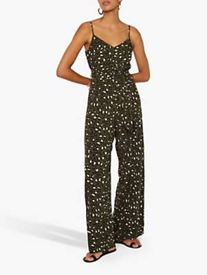 Warehouse Leopard Print Jumpsuit, Green