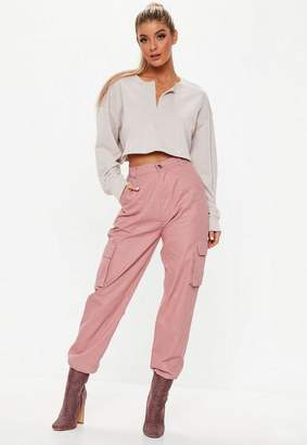 Missguided Dusky Pink Plain Cargo Pants