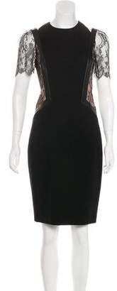 Jason Wu Leather & Lace-Trimmed Knee-Length Dress w/ Tags