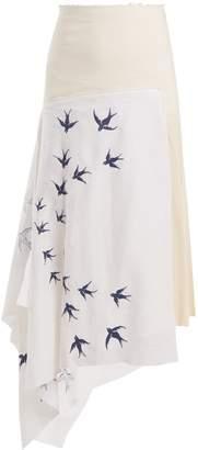 J.W.Anderson Swallow-embroidered contrast-panel linen skirt