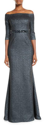 Rickie Freeman For Teri Jon Off-the-Shoulder Metallic Jacquard Gown w/ Beaded Waist