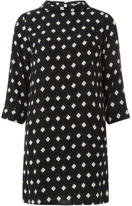 Dorothy Perkins Womens Petite Black High Neck Shift Dress