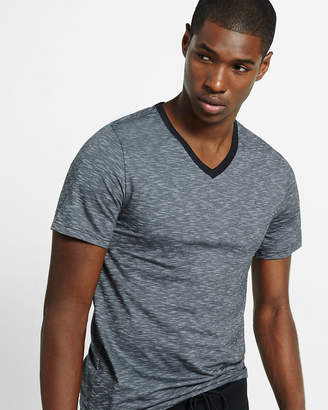 Express Space Dyed Slub Knit Flex Stretch V-Neck Tee